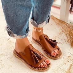 Women's PU Flat Heel Slippers With Tassel shoes