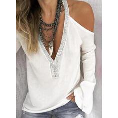 Solid Sequins Cold Shoulder Long Sleeves T-shirts