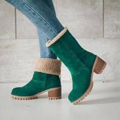Dla kobiet Zamsz Obcas Slupek Kozaki do polowy lydki Buty zimowe Z Pozostałe obuwie
