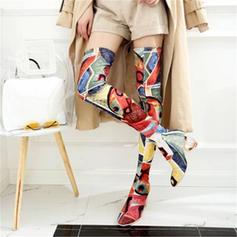 Femmes Tissu Talon bottier Escarpins Bottes Cuissardes avec Fleur en satin chaussures
