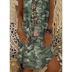 Print/Camouflage Sleeveless Shift Knee Length Casual Tank Dresses