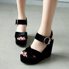 Femmes Suède Talon compensé Sandales avec Boucle chaussures