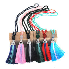 Lovely Silk Crystal With Tassels Women's Fashion Necklace