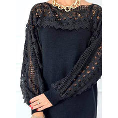 Lace/Solid Long Sleeves Shift Above Knee Elegant Sweater Dresses