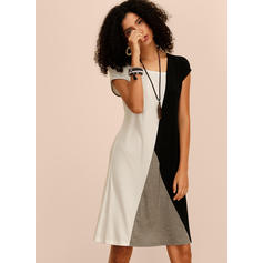 Color-block Short Sleeves Shift Knee Length Casual Dresses