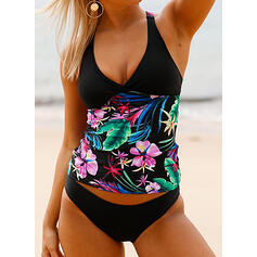 Floral Push Up Halter Sexy Attractive Tankinis Swimsuits