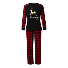 Reindeer Plaid Letter Family Matching Christmas Pajamas
