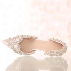 Women's Leatherette Stiletto Heel Closed Toe Pumps Sandals With Rhinestone