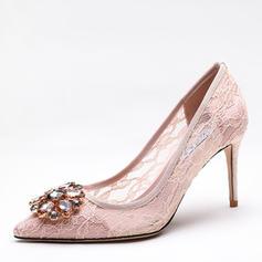 Dla kobiet Tkanina mesh Obcas Stiletto Czólenka Zakryte Palce Z Stras/ Krysztal Górski obuwie