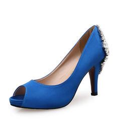Dla kobiet Satyna Obcas Stiletto Czólenka Otwarty Nosek Buta Z Stras/ Krysztal Górski Klamra obuwie