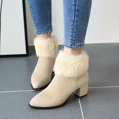 Vrouwen Suede Chunky Heel Enkel Laarzen met Rits Bont schoenen