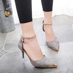 Femmes Suède Talon stiletto Sandales Escarpins Bout fermé avec Paillette chaussures