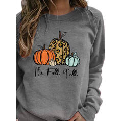 Print Leopard Halloween Round Neck Long Sleeves Sweatshirt