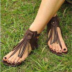 De mujer PU Tacón plano Sandalias Planos con Borla zapatos