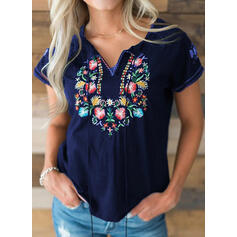 Embroidery V-Neck Short Sleeves Casual Blouses