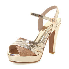 Women's Leatherette Chunky Heel Sandals Pumps Platform With Buckle shoes