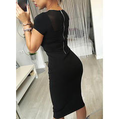 Solid Short Sleeves Bodycon Knee Length Little Black/Party Dresses