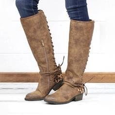 Women's PU Chunky Heel Knee High Boots With Lace-up Split Joint shoes