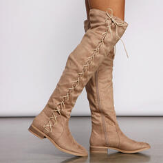 Women's Suede Low Heel Boots With Ruched Lace-up Solid Color shoes