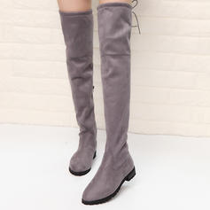 Women's Suede Low Heel Boots Over The Knee Boots shoes