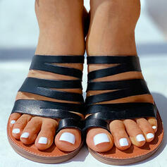 Лакированная кожа Плоский каблук Сандалии Домашние тапочки с Выдолбить обувь