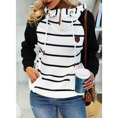 Color Block Striped Long Sleeves Hoodie