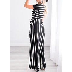 Striped Short Sleeves A-line Casual/Vacation Midi Dresses