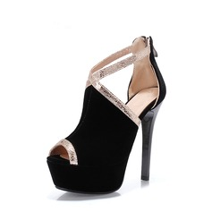 Women's Suede Stiletto Heel Pumps Platform Peep Toe With Split Joint shoes