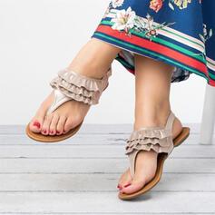 Femmes Suède Talon plat Sandales Tongs avec Couleur unie chaussures