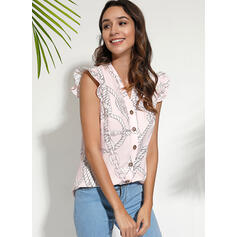 Print V-Neck Sleeveless Casual Blouses