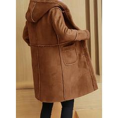 Cotton Long Sleeves Plain Faux Fur Coats
