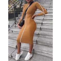 Einfarbig Lange Ärmel Figurbetont Midi Freizeit Kleider