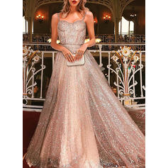 Sequins/Solid Sleeveless A-line Maxi Party Dresses