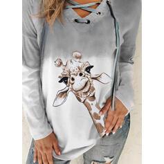 Animal Print Gradient V-Neck Long Sleeves Sweatshirt