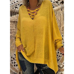 Solid V-neck Batwing Sleeve Long Sleeves Casual Sexy Knit Blouses