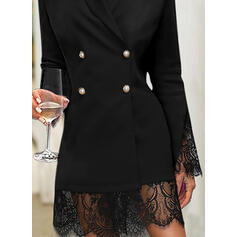 Lace/Solid Long Sleeves Sheath Knee Length Little Black/Elegant Dresses