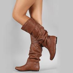 Dla kobiet Skóra ekologiczna Płaski Obcas Zakryte Palce Kozaki Kozaki do kolan Z Pozostałe obuwie