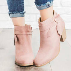 Women's PU Stiletto Heel Chunky Heel Ankle Boots With Buckle shoes