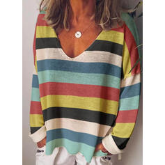 Striped V-Neck Long Sleeves T-shirts