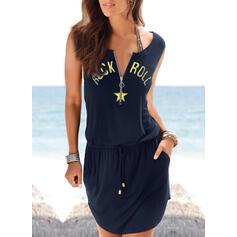 Print Sleeveless Sheath Above Knee Casual/Vacation Tank Dresses