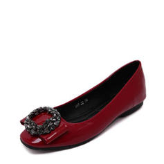 Femmes PU Talon plat Chaussures plates Bout fermé avec Strass chaussures
