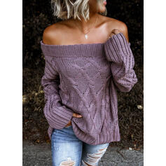 Solid Cable-knit Off the Shoulder Casual Sweaters