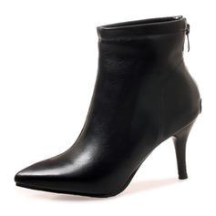 Dla kobiet Skóra ekologiczna Obcas Stiletto Czólenka Zakryte Palce Kozaki Botki Z Zamek błyskawiczny obuwie