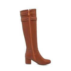 Women's Leatherette Chunky Heel Boots Knee High Boots With Buckle Zipper shoes