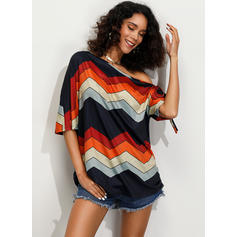 Striped One-Shoulder 1/2 Sleeves Casual Knit T-shirts