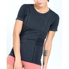 Gola Redonda Manga Curta Cor sólida Camisetas esportivas