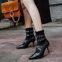 Femmes Similicuir Talon stiletto Escarpins Bottes Bottines avec Rivet Boucle chaussures