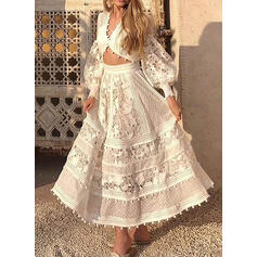 Lace/Solid Long Sleeves/Lantern Sleeve A-line Sexy/Party/Vacation Maxi Dresses