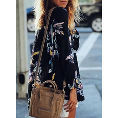 Floral V Neck Long Sleeves Casual Elegant Blouses