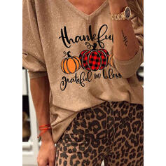 Print Figure V-Neck 3/4 Sleeves Casual Halloween T-shirts